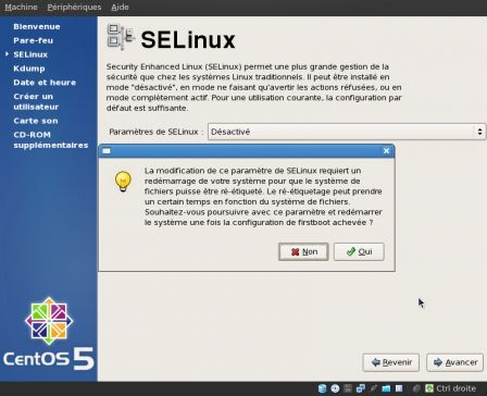Validation de la désactivation de SELinux